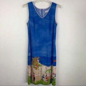 CDC Sleeveless V Neck Beach Scene Dress